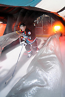 KELOWNA, CANADA, OCTOBER 11: Carter Rigby #11 of the Kelowna Rockets enters the ice as the Medicine Hat Tigers visited the Kelowna Rockets on October 11, 2011 at Prospera Place in Kelowna, British Columbia, Canada (Photo by Marissa Baecker/shootthebreeze.ca) *** Local Caption *** Carter Rigby;