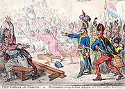 Exit Liberte al Francois! Or Buonaparte closing the Farce of Egalite, at St Cloud near Paris, Nov 10th 1799.  Napoleon's Coup d'Etat of Eighteenth Brumaire.  British cartoon by James Gillray,  21 Nov 1799.  First Consul Satire France
