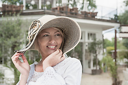 Portrait woman attractive smiling wearing hat