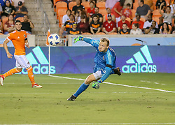 May 25, 2018 - Houston, TX, U.S. - HOUSTON, TX - MAY 25:  Houston Dynamo goalkeeper Joe Willis (23) dives for the ball during the MLS match between the New York FC and Houston Dynamo on May 25, 2018 at BBVA Compass Stadium in Houston, Texas.  (Photo by Leslie Plaza Johnson/Icon Sportswire) (Credit Image: © Leslie Plaza Johnson/Icon SMI via ZUMA Press)
