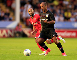 Gabriel Agbonlahor of Aston Villa evades the attention of Adam Chambers of Walsall - Mandatory by-line: Paul Roberts/JMP - 18/07/2017 - FOOTBALL - Bescot Stadium - Walsall, England - Walsall v Aston Villa -  Pre-season friendly