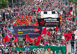 8th July, 2017. Hamburg, Germany. large demonstration march through central Hamburg protesting against G20 Summit taking place in city.