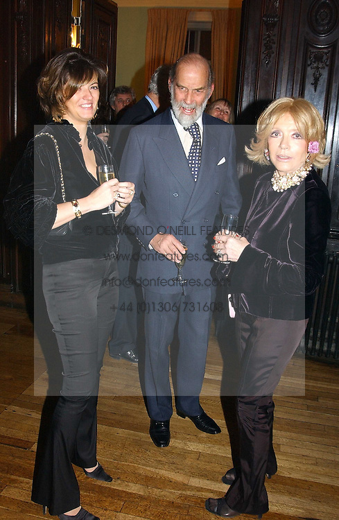 Left to right, the HON.PETRONELLA WYATT, PRINCE MICHAEL OF KENT and LADY WYATT at a party to celebrate the publication of Andrew Robert's new book 'Waterloo: Napoleon's Last Gamble' and the launch of the paperback version of Leonie Fried's book 'Catherine de Medici' held at the English-Speaking Union, Dartmouth House, 37 Charles Street, London W1 on 8th February 2005.<br /><br />NON EXCLUSIVE - WORLD RIGHTS