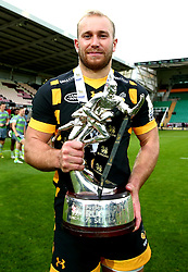 Dan Robson of Wasps with the Premiership Rugby 7s Trophy after victory in the 2017 Final against Newcastle Falcons - Mandatory by-line: Robbie Stephenson/JMP - 29/07/2017 - RUGBY - Franklin's Gardens - Northampton, England - Wasps v Newcastle Falcons - Singha Premiership Rugby 7s