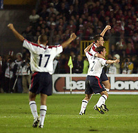 Picture: Henry Browne.<br />Date: 11/10/2003.<br />Turkey v England European Qualifier.<br /><br /><br />John Terry and Gary Neville celebrate after the final whistle with Dyer in the foreground
