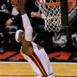 Jun 21, 2012; Miami, FL, USA; Miami Heat small forward LeBron James (6) shoots against the Oklahoma City Thunder during the second quarter in game five in the 2012 NBA Finals at the American Airlines Arena. Mandatory Credit: Derick E. Hingle-US PRESSWIRE
