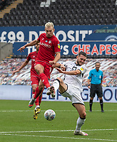 Swansea City's Matt Grimes (right) battles with Bristol City's Andreas Weimann (left) <br /> <br /> Photographer David Horton/CameraSport<br /> <br /> The EFL Sky Bet Championship - Swansea City v Bristol City- Saturday 18th July 2020 - Liberty Stadium - Swansea<br /> <br /> World Copyright © 2019 CameraSport. All rights reserved. 43 Linden Ave. Countesthorpe. Leicester. England. LE8 5PG - Tel: +44 (0) 116 277 4147 - admin@camerasport.com - www.camerasport.com