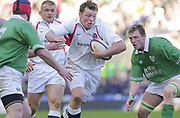 Photo. Peter Spurrier. <br /> England v Ireland at Twickenham. Lloyds TSB Six Nations Championship.<br /> 16-2-2002<br /> Steve Thompson looks for the gap.