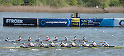 Brandenburg. GERMANY. GBR W8+, crossing the line to take the glod at the <br /> 2016 European Rowing Championships at the Regattastrecke Beetzsee<br /> <br /> Sunday  08/05/2016<br /> <br /> [Mandatory Credit; Peter SPURRIER/Intersport-images]