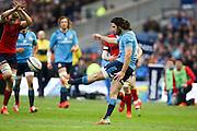28.02.2015.  Edinburgh, Scotland. 6 Nations Championship. Scotland versus Italy.  Italy's Luke McLean clears the ball.