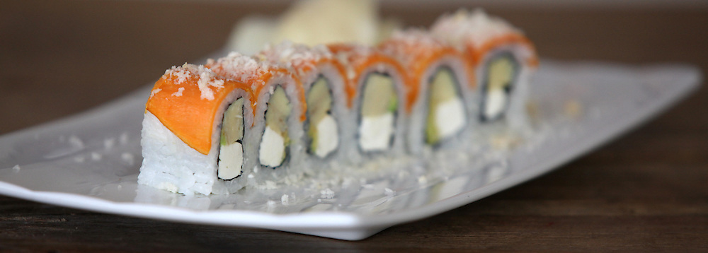 plate of Inside out salmon Sushi