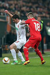 18.02.2016, WWKArena, Augsburg, GER, UEFA EL, FC Augsburg vs FC Liverpool, Sechzehntelfinale, Hinspiel, im Bild Markus Feulner ( FC Augsburg ) Alberto Moreno ( FC Liverpool ) // during the UEFA Europa League Round of 32, 1st Leg match between FC Augsburg and FC Liverpool at the WWKArena in Augsburg, Germany on 2016/02/18. EXPA Pictures © 2016, PhotoCredit: EXPA/ Eibner-Pressefoto/ Langer<br /> <br /> *****ATTENTION - OUT of GER*****