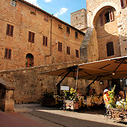 Restaurant at San Gimignano, Italy