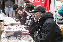 November 4, 2016 - Refugees engaged in a hunger strike at Munich's Sendlinger Tor Platz  held a press conference today informing the media of their demands for their human rights to be respected.  The looming Integrationsgesetz from the CSU party of Bavaria threatens their ability and desire to integrate into German society.  Numerous refugees collapsed, were unconscious, and receiving emergency medical attention at the scene. (Credit Image: © Sachelle Babbar via ZUMA Wire)