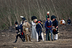 11 January 2015. New Orleans, Louisiana. <br /> Bicentennial reenactment of the Battle of New Orleans in Chalmette. <br /> British and American troops meet on the battle field as they re-enact the disastrous January 8th, 1815 battle against American foes marking the 200th anniversary of the Battle of New Orleans in Chalmette. Despite heavily outnumbering the Americans, the British suffered over 2,000 casualties, with many senior officers amongst the dead and injured compared to the Americans who suffered a mere 70 by comparison. The American victory was hailed as miracle.<br /> Photo; Charlie Varley/varleypix.com