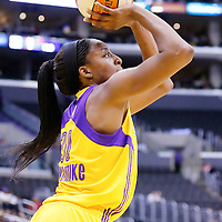 22 June 2014: forward Nneka Ogwumike (30) of the Los Angeles Sparks takes a jumpshot during the San Antonio Stars 72-69 victory over the Los Angeles Sparks, at the Staples Center, Los Angeles, California, USA.