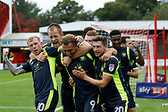Carlisle United players celebrate a goal from Carlisle United Forward Hallam Hope (9) (score 0-1) during the EFL Sky Bet League 2 match between Crawley Town and Carlisle United at the Checkatrade.com Stadium, Crawley, England on 30 September 2017. Photo by Andy Walter.