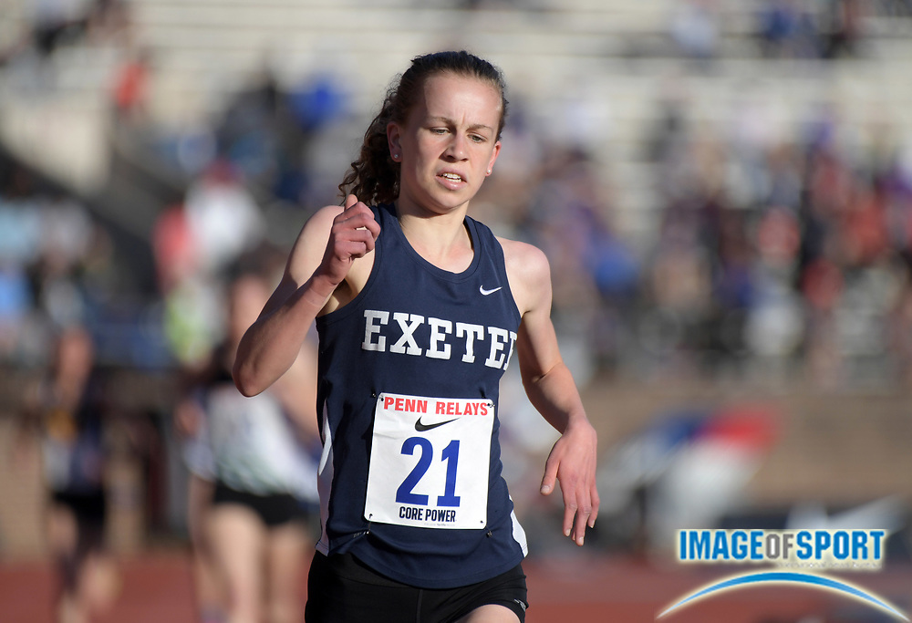 Apr 26, 2018; Philadelphia, PA, USA; Jacqueline Gaughand of Exeter (NH) wins the Championship of America girls 3,000m in 9:34.41 during the 124th Penn Relays at Franklin Field.