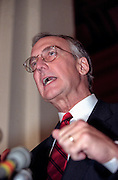 Republican Rep. Bob Livingston speaks to the media after he was nominated by the Majority Caucus to be House Speaker November 18, 1998 in Washington, DC. Livingston replaces Newt Gingrich who is stepping down after poor mid-term elections.