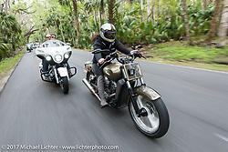 Klock Werks Karlee Kobb (R) on her custom Indian Scout with Brian Klock on his Jack Daniels Indian Chieftain during Daytona Beach Bike Week. FL. USA. Monday March 13, 2017. Photography ©2017 Michael Lichter.
