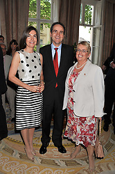 The Spanish Ambassador to the UK HE Mr CARLES CASAJUANA I PALETAND, his wife MARGARITA and DAME DENISE HOLT at a reception hosted by the Spanish Ambassador for the Anglo-Spanish Society at The Spanish Embassy, Belgrave Square, London on 29th June 2011.