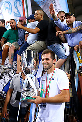 August 13, 2017 - Rome, Italy - Lazio's midfielder from Bosnia-Herzegovina Senad Lulic holds the trophy  after the Italian Supercup match between Juventus and SS Lazio at Stadio Olimpico on August 13, 2017 in Rome, Italy. (Credit Image: © Matteo Ciambelli/NurPhoto via ZUMA Press)