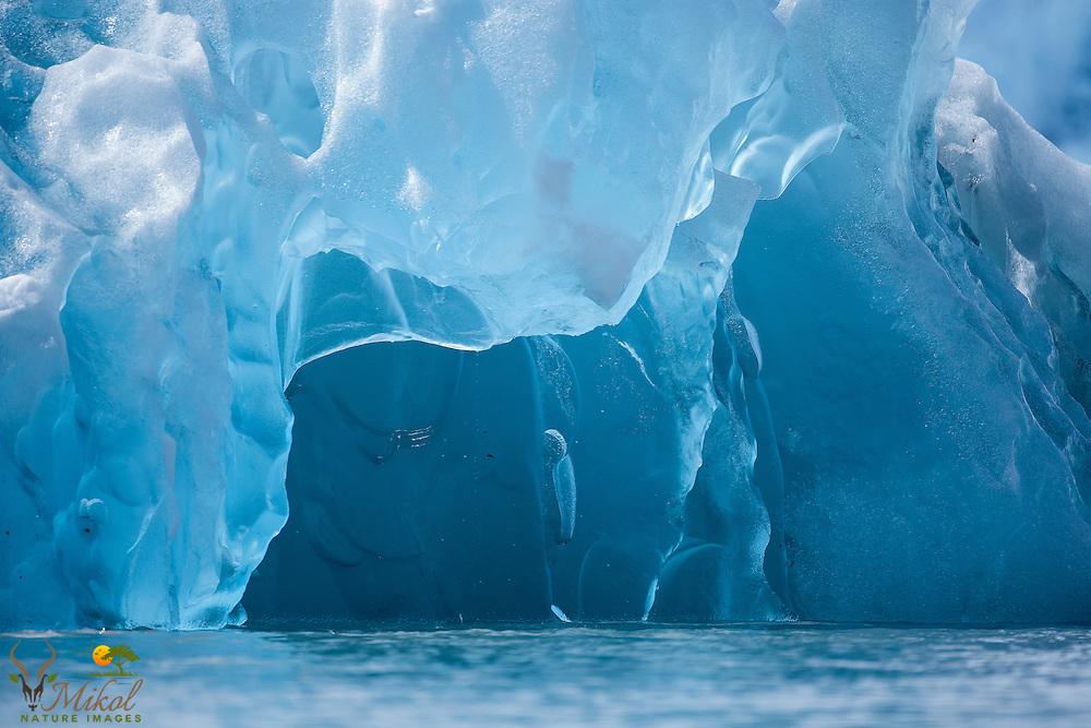 Chenga Glacier Iceberg creating floating ice cave