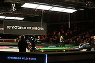 Judd Trump (c) in action during his match against Rory McLeod ®.  Betvictor Welsh Open snooker 2016, day 2 at the Motorpoint Arena in Cardiff, South Wales on Tuesday 16th Feb 2016.  <br /> pic by Andrew Orchard, Andrew Orchard sports photography.