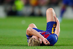November 5, 2019, Barcelona, Catalonia, Spain: November 5, 2019 - Barcelona, Spain - Uefa Champions League Stage Group, FC Barcelona v Slavia Praga: Frenkie De Jong of FC Barcelona injured on the floor. (Credit Image: © Eric Alonso/ZUMA Wire)