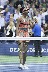 September 5, 2017 - New York, New York, United States - Venus Williams of USA celebrates victory against Petra Kvitova of Czech Republic at US Open Championships at Billie Jean King National Tennis Center  (Credit Image: © Lev Radin/Pacific Press via ZUMA Wire)
