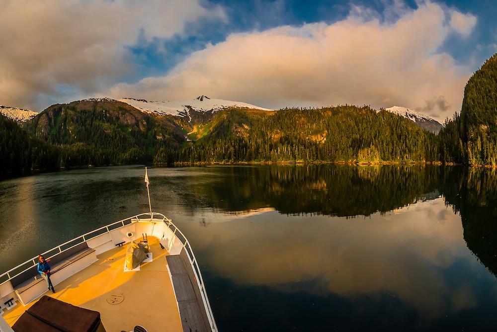 Wilderness Explorer moored in Takatz Bay, Baranof Island, Inside Passage, Southeast Alaska USA.
