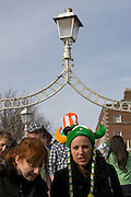 Girl in Irish viking hat on Hapenny Bridge, Dublin, St. Patrick's Day, 2009