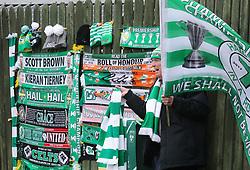 Celtic merchandise on sale outside Hampden Park before the William Hill Scottish Cup semi final match at Hampden Park, Glasgow.