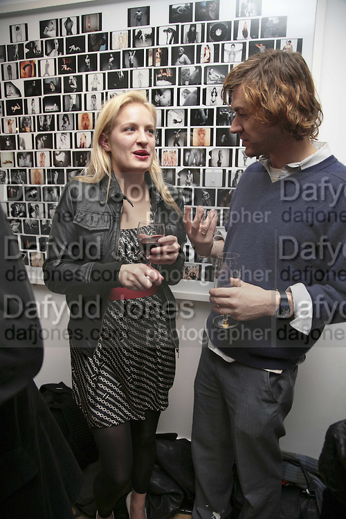 POLLY MORGAN AND HARLAND MILLER, Exhibition of Polaroids by Rankin. The Gallery, 125 Charing Cross Road, London, WC2 7 December 2006. ONE TIME USE ONLY - DO NOT ARCHIVE  © Copyright Photograph by Dafydd Jones 248 CLAPHAM PARK RD. LONDON SW90PZ.  Tel 020 7733 0108 www.dafjones.com