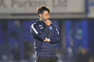 Portsmouth manager Danny Cowley  watching the warm up ahead of the EFL Sky Bet League 1 match between Portsmouth and Ipswich Town at Fratton Park, Portsmouth, England on 19 October 2021.