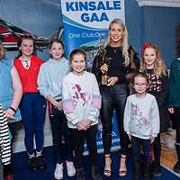 Cork Footballer Orla Finn with her second All Star award and young fans from the Kinsale GAA club at a special presentation to Orla in the Blue Haven Hotel by Kinsale GAA.<br /> Picture. John Allen