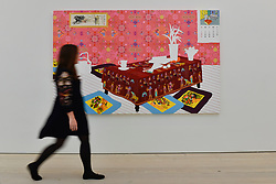 "© Licensed to London News Pictures. 13/09/2017. London, UK. A woman views ""The House in the Painting, The Painting in the House"", 2008, by Sun Young Byun.  Preview of the START Art Fair at the Saatchi Gallery in Chelsea.  The fair showcases the best emerging artists from developing markets across the globe and is open to the public 14 to 17 September. Photo credit : Stephen Chung/LNP"