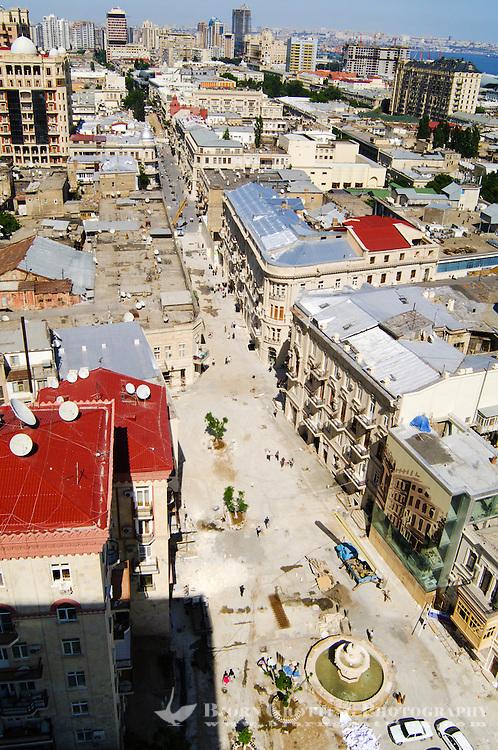 Azerbaijan, Baku. Baku city view.  A large amount of construcion work is taking place in the city.