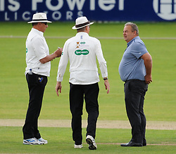 Graham Cowdrey , cricket liaison officer talks to the umpires.  - Mandatory by-line: Alex Davidson/JMP - 10/07/2016 - CRICKET - Cooper Associates County Ground - Taunton, United Kingdom - Somerset v Middlesex - Specsavers County Championship Division One