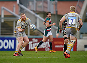 Wasps Prop Tom West throws a loose pass during a Gallagher Premiership Round 10 Rugby Union match, Friday, Feb. 20, 2021, in Leicester, United Kingdom. (Steve Flynn/Image of Sport)