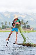 A leg rowing fisherman casting a net on Inle Lake, Myanmar.