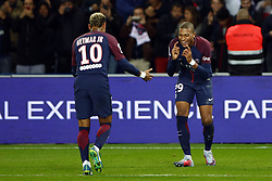 September 17, 2017 - Paris, France - Kylian Mbappe of PSG celebrates his goal with Neymar Jr during the Ligue 1 match between Paris Saint Germain and Olympique Lyonnais at Parc des Princes on September 17, 2017 in Paris. (Credit Image: © Mehdi Taamallah/NurPhoto via ZUMA Press)