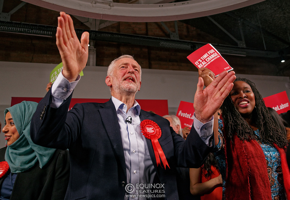 London, United Kingdom - 11 December 2019<br /> Labour Party leader Jeremy Corbyn speaking at their final campaign rally before the General Election 2019 at Hoxton Docks, London, England, UK.<br /> (photo by: EQUINOXFEATURES.COM)<br /> Picture Data:<br /> Photographer: Equinox Features<br /> Copyright: ©2019 Equinox Licensing Ltd. +443700 780000<br /> Contact: Equinox Features<br /> Date Taken: 20191211<br /> Time Taken: 21581879<br /> www.newspics.com