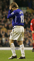 Photo: Dave Howarth.<br /> Everton v Liverpool. The Barclays Premiership. 28/12/2005. Everton's Phil Nevill leaves the pitch in disgrace after being red carded