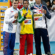 Ethiopia's gold medallist Mohammed Aman (C) poses on the podium with Czech Republic's silver winner Jakub Holusa (L) and Britain's bronze medallist Andrew Osagie during the medal ceremony for the men's 800m at the during the IAAF World Indoor Championships at the Atakoy Athletics Arena, Istanbul, Turkey. Photo by TURKPIX