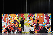 LAS VEGAS, NV - JULY 10:  Artists work on a UFC 200 mural during UFC Fan Expo Day 3 at the Las Vegas Convention Center on July 10, 2016 in Las Vegas, Nevada. (Photo by Cooper Neill/Zuffa LLC/Zuffa LLC via Getty Images) *** Local Caption ***