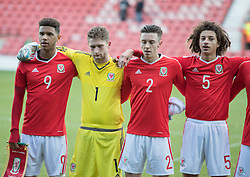 WREXHAM, WALES - Thursday, November 10, 2016: Wales' Tyler Roberts, Feral Hale-Brown, Cameron Coxe and Ethan Ampadu before kick off against Greece during the UEFA European Under-19 Championship Qualifying Round Group 6 match at the Racecourse Ground. (Pic by Gavin Trafford/Propaganda)