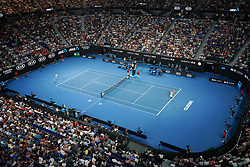 MELBOURNE, Jan. 16, 2019  Rafael Nadal (R) of Spain serves the ball after the men's singles second round match against Matthew Ebden of Australia at the Australian Open in Melbourne, Australia, Jan. 16, 2019. (Credit Image: © Bai Xuefei/Xinhua via ZUMA Wire)