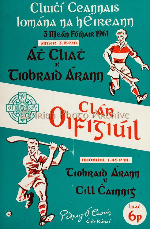 All Ireland Senior Hurling Championship Final,.03.09.1961, 09.03.1961, 3rd September 1961,.Minor Tipperary v Kilkenny, .Senior Dublin v Tipperary, Tipperary 0-16 Dublin 1-12, .03091961AISHCF,