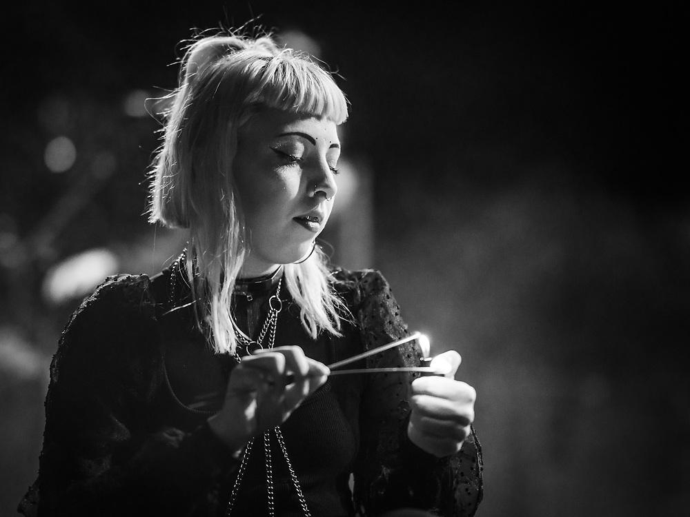 Laufey Soffía of Icelandic goth-punk band Kælan Mikla at Iceland Airwaves